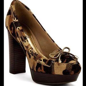 SPERRY leopard platform heels calf hair 7
